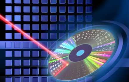 Laser beam shining on a DVD.