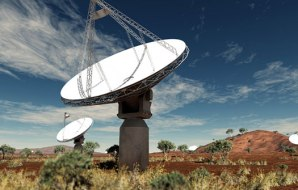 Radio telescope dishes in the outback.