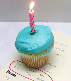 A cupcake with a candle on it sitting on top of the paper of names and dates.