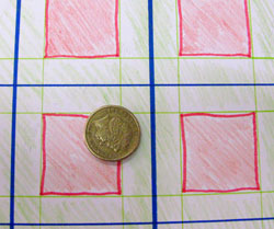 A square grid areas close to the lines are coloured green. areas far away from the lines are coloured red. there is a coin on the grid.