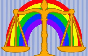 Stylised picture of a rainbow on a set of scales