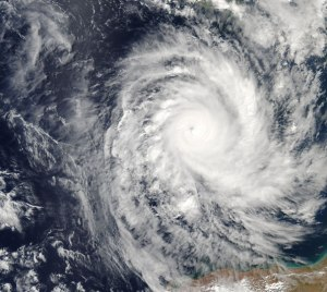 Satellite image of a tropical cyclone.
