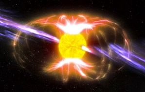 A star with magnetic fields and beams coming out of it.