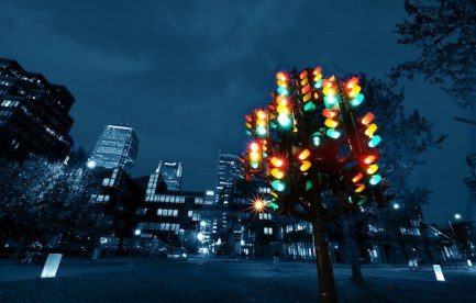 Pierre Vivant's sculpture, Traffic Light Tree in the Docklands, London