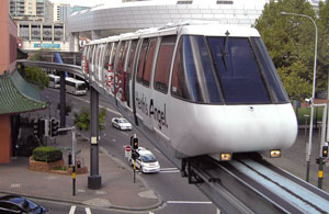 A monorail on a raised track.