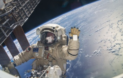 Astronaut in spacesuit with Earth in background