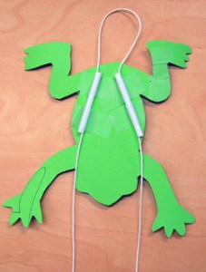 The underside of a cut-out frog. There are two short straws that make a 'v' shape stuck to the frog, and a string is looped through both.