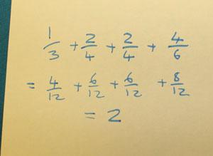 1/3+2/4+2/4+4/6=4/12+6/12+6/12+8/12=2