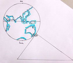 A picture of the wold, with a triangle on the surface.