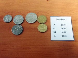 three dollars in lose change and a card entitiled home town.