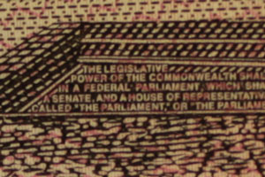 "Text saying: The legeslative power of the commonwealth... in a federal parliment... a Senate and a house of repres... ...lled ""the parliament or ""the..."