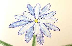 A drawing of a flower
