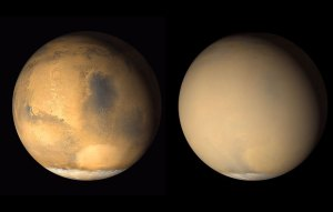 Two images of Mars, side by side, one of them pale and cloudy.