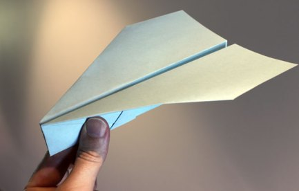 A blue paper plane with a stubby nose