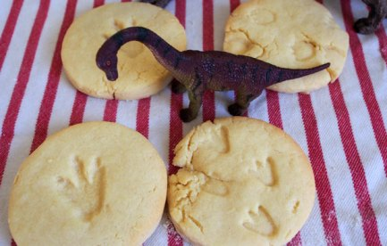 Four biscuits with dinosaur prints and a toy dinosaur.