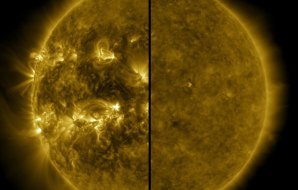 Solar flares on the surface of the sun. Active and less active.