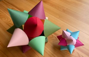 Star made from multiple coloured paper cones.