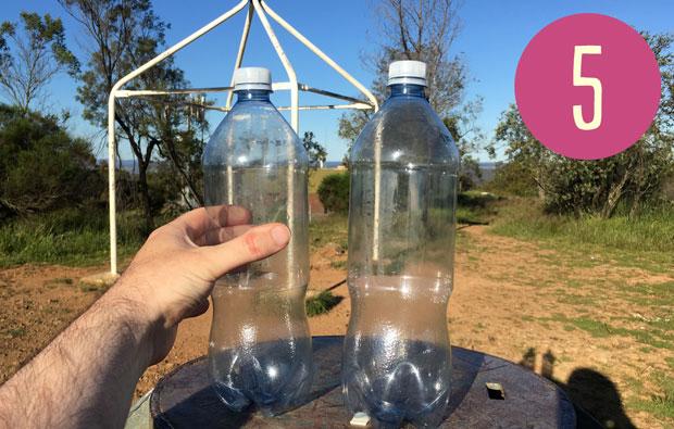 Two empty drink bottles.