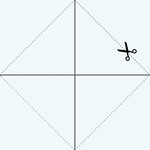 Cross on a square of paper with dotted cut lines between the points of the cross.