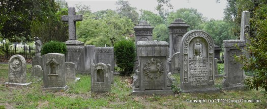 panoramic photo of a family grave site