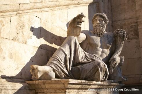 photograph of a statue in Piazza del Campidoglio in Rome, Italy