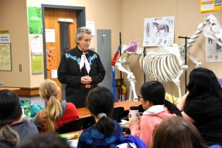 Animal behaviour expert and autism advocate Professor Temple Grandin visited the Vet Tech students before speaking to a packed house at the Laura C. Muir Performing Arts Theatre on Jan. 10.