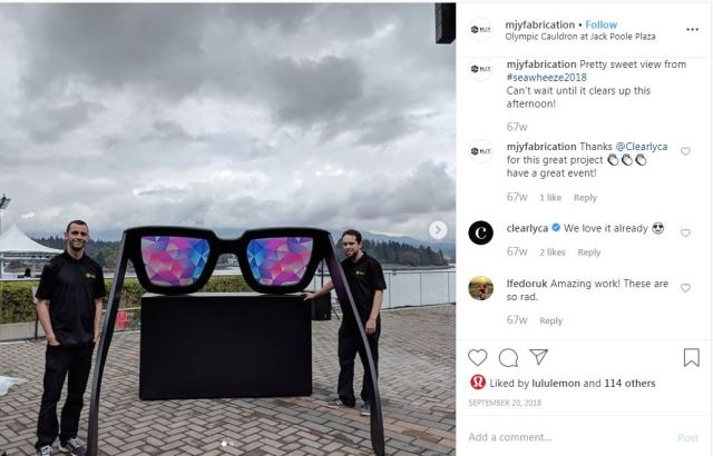 Instagram screenshot of Clearly sunglasses.