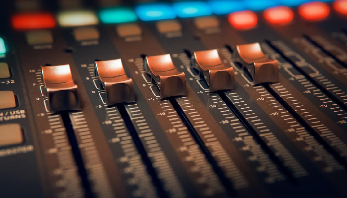 audio mixer close-up