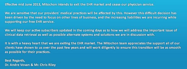 mitochon systems ehr notification
