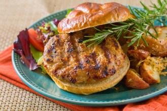 Rosemary Smokehouse Turkey Burgers on Pretzel Buns