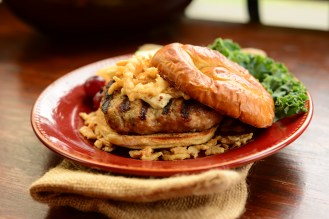 French Onion Turkey Burger on Pretzel Bun with Steak Fries