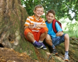 Young boys geocaching