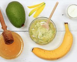 Banana, avocado, honey, and olive oil homemade hair mask