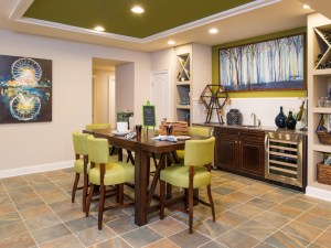Colorful tile floor in kitchen