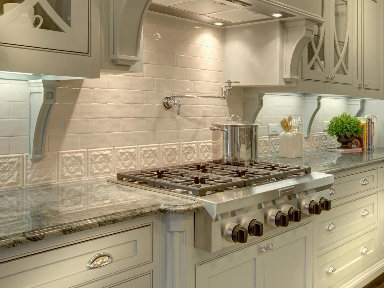 white brick and decorative tile backsplash