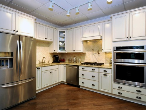 Stainless steel refrigerator dishwasher and double oven