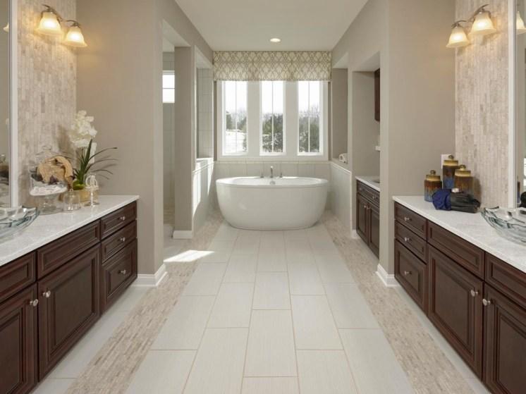 White tile flooring in bathroom