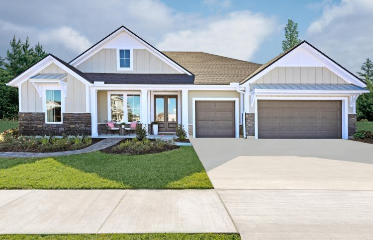 The exterior of the Durbin II by Drees Homes, a ranch floor plan in Jacksonville, Florida.
