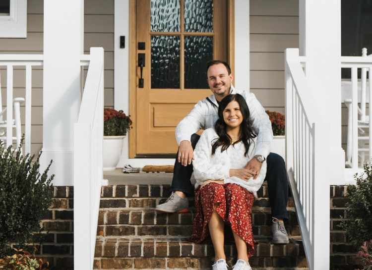 Interior Designer Hannah French with Her Husband Will Outside Their Drees Home in Raleigh, North Carolina