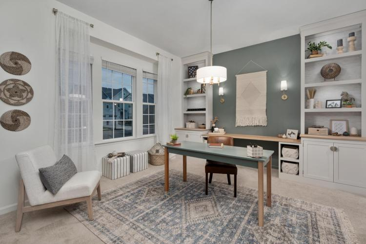 Woodworking Instagram sensation Sam Ryan designs home office for a military family living in a Drees home