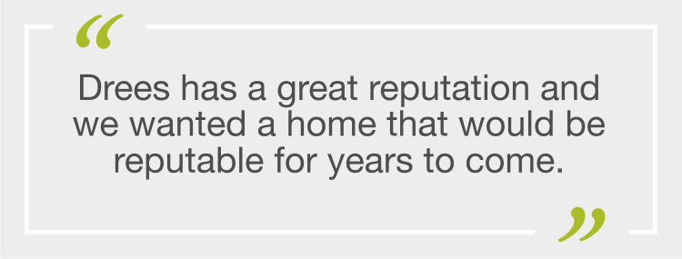 Quote from Drees Homes Homeowners: Erik and Michelle Anderson