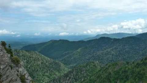 The view from Charlie's Bunion, which is a rock formation on the Appalachian Trail.