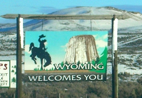 This is one of the signs that welcomes people to Wyoming.  (click for credit)
