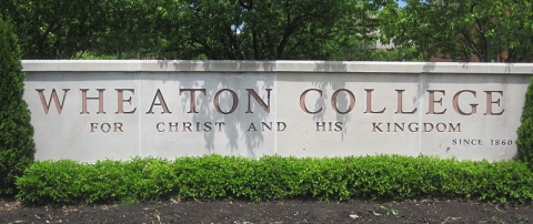 """This sign contains the English translation of Wheaton College's motto, """"Christo et Regno Ejus.""""  (click for credit)"""