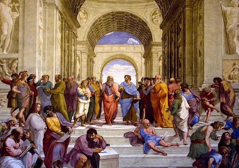 This painting by the Italian Renaissance artist Raphael is called The School of Athens.  Plato and Aristotle are at the center.