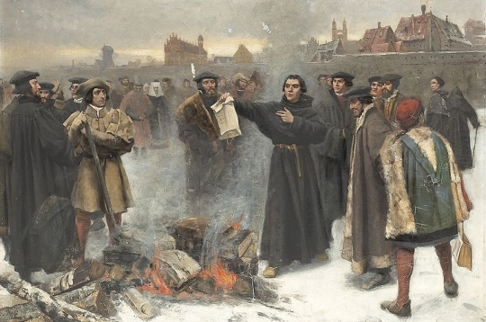 Karl Aspelin's painting of Martin Luther burning the papal bull that excommunicated him from the Roman Catholic Church.