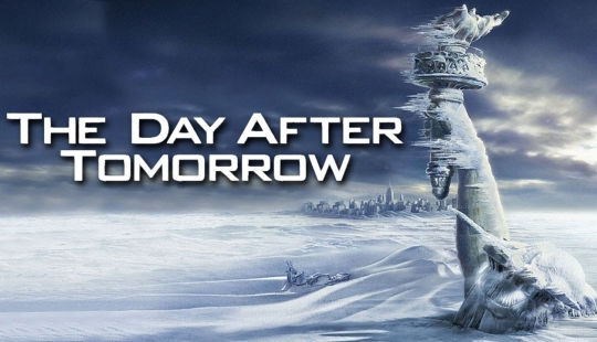 """A promotional banner for the film """"The Day After Tomorrow.""""  (click for credit)"""