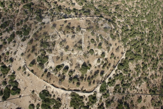 An aerial view of Khirbat Qeiyafa, which is most likely the Biblical city of Shaaraim. (click for credit)