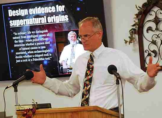 Dr. Briney presenting design evidence for creation (click for source)