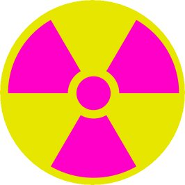 The international symbol for radiation, which is also known as the trefoil.